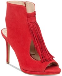 Vince Camuto Abigalla Fringe Peep Toe Pumps Women's Shoes Ruby Red
