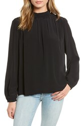 Hinge Mock Neck Blouse Black
