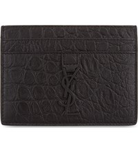 Saint Laurent Crocodile Embossed Leather Card Holder Black