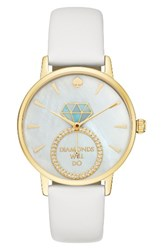 Kate Spade Women's New York Metro Wish Leather Strap Watch 34Mm White Mother Of Pearl Gold