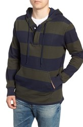 J.Crew Regular Fit French Terry Rugby Hoodie Dark Moss Navy