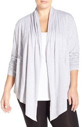 Plus Size Women's Lucky Brand Drape Front Cardigan Heather Grey