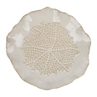 Amara Curled Ceramic Round Tray Cream