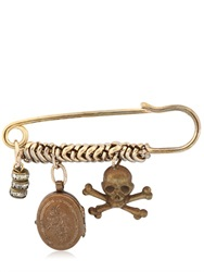 Maria Zureta Skull And Crossbones Bronze Safety Pin