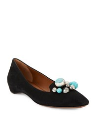 Aquatalia By Marvin K Marie Embellished Suede Smoking Flats Black