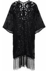 Miguelina Woman Fringed Crocheted And Guipure Lace Cotton Coverup Black