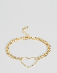 Asos Limited Edition Open Heart Chain Bracelet Gold