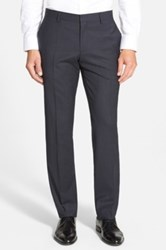 Hugo Boss 'Genesis' Flat Front Check Stretch Wool Trousers Blue