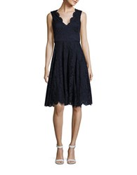 Vera Wang Lace V Neck Fit And Flare Dress Navy