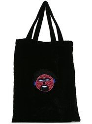 Jupe By Jackie Embroidered Shopper Tote Women Silk Velvet One Size Black
