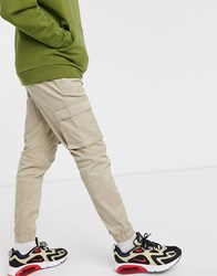 Only And Sons Slim Fit Cargo With Cuffed Bottom In Sand Beige