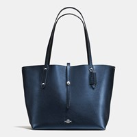 Coach Market Tote In Pebble Leather Sv Metallic Navy Black