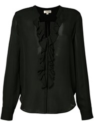 L'agence Sheer Ruffle Front Blouse Black