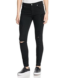 7 For All Mankind B Air Destroyed Skinny Ankle Jeans In Black