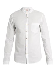 Orley Raw Edge Band Collar Cotton Shirt White