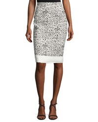Carolina Herrera Splatter Print Pencil Skirt White Black Black Pattern