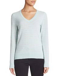 Lord And Taylor Striped V Neck Cashmere Sweater Iced Aqua Heather