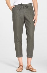 Women's Cj By Cookie Johnson Relaxed Linen Blend Cargo Pants Moss