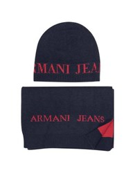 Armani Jeans Signature Knitwear Set Of Hat And Long Scarf Midnight Blue