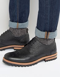 Asos Brogue Shoes In Black Leather With Heavy Cleated Sole Black