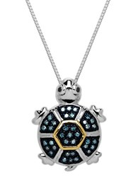 Lord And Taylor Sterling Silver 14 Kt. Yellow Gold Diamond Turtle Pendant Black And Green Diamonds