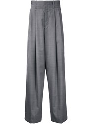 Wooyoungmi Pleated Wide Leg Trousers Grey