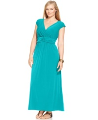 Ny Collection Plus Size Sleeveless Ruched Empire Waist Maxi Dress Capri Breeze