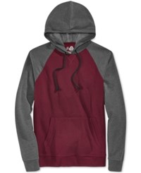 American Rag Men's Raglan Fleece Hoodie Dark Scarlet