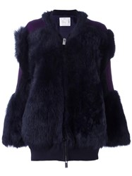 Sacai Contrast Patch Fur Jacket Blue