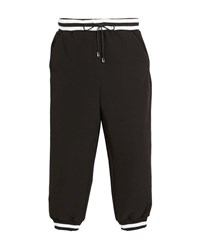 Milly Minis Italian Cady Striped Track Pants Black