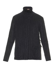 N 21 Contrast Back Mohair Blend Cardigan