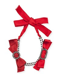 Lanvin Red Bow Crystal Choker Necklace