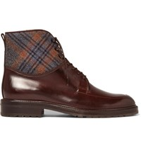 Etro Checked Felt Panelled Leather Boots Dark Brown