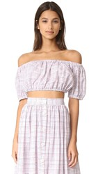 Mds Stripes Cropped Peasant Top Check