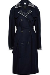 Magda Butrym Woman Amur Bead Embellished Wool Blend Trench Coat Midnight Blue