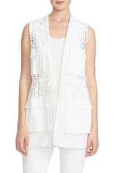 Women's Cece By Cynthia Steffe Four Pocket Eyelet Vest Ultra White
