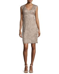 Sue Wong Sleeveless Embellished Lace Dress Taupe Brown