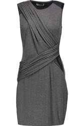 Bailey 44 Faux Leather Trimmed Stretch Jersey Mini Dress Dark Gray