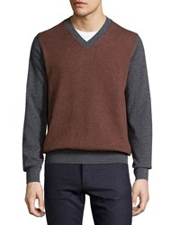 Luciano Barbera Cashmere Herringbone V Neck Sweater Charcoal Burgundy