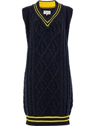 Maison Martin Margiela Cable Knit Sweater Dress Blue