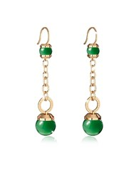 Rebecca Hollywood Stone Yellow Gold Over Bronze Dangle Earring W Green Hydrothermal Stone