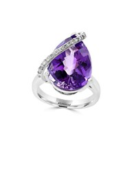 Effy Viola 0.19 Tcw Diamond Amethyst And 14K White Gold Ring Purple