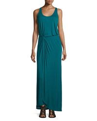 Halston Heritage Sleeveless Twist Front Maxi Dress Dark Emerald Women's Size M