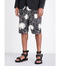 Junya Watanabe Floral Patterned Relaxed Fit Woven Shorts Black White