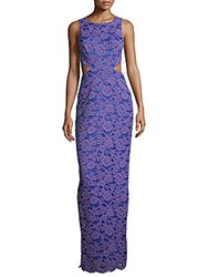 Nicole Miller Floral Embroidered Sleeveless Gown Lilac