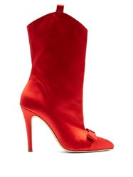 Alessandra Rich Bow Embellished Western Style Ankle Boots Red