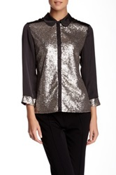 Insight Sequin Long Sleeve Blouse Metallic