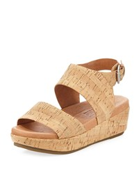 Gentle Souls Lori Cork Comfort Wedge Sandal Natural