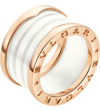 Bulgari B.Zero1 Four Band 18Ct Pink Gold And Ceramic Ring