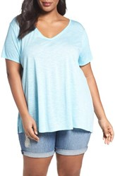 Sejour Plus Size Women's Slub Knit Tee Teal Angel